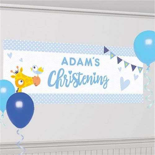 Christening Day Blue Personalised Banner (each)